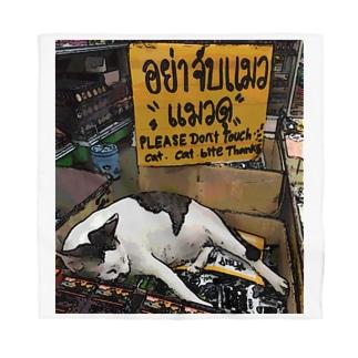 zakkaya 雑貨屋 孵 kaeruのPlease Don't Touch Cat.猫に触らんといて、商品の上で寝てるけど。 Bandana