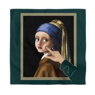 イラッとする真珠の耳飾りの少女 (バンダナ・背景カラー) Bandana