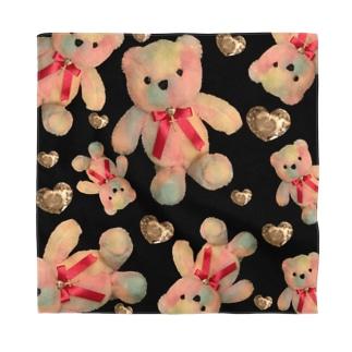 Dreamy Teddy Fabric BLK sq Bandana