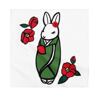 和風うさぎさんと椿の花 Bandana