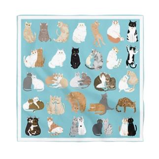kawamu_cats shopの猫ちゃんバンダナ(ブルー) Bandana