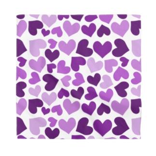 ぎっしりな紫色のハート模様 Bandana