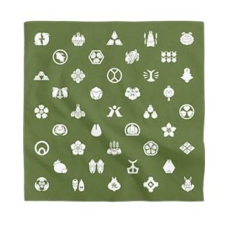 うさぎの家紋/緑 Bandana