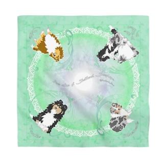 Five colors of Shetland Sheepdogs.~Green~ Bandana