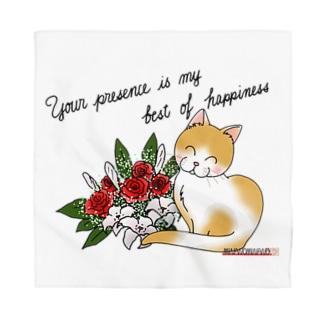 花束とニコニコ猫ちゃん Bandana