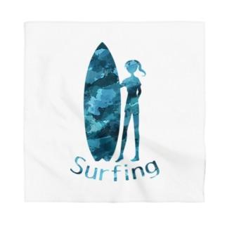 サーフボードと女性 Bandana