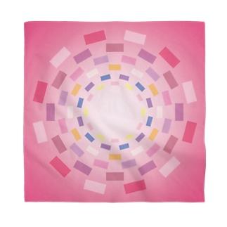 まるちの四角円模様ピンク色バンダナ Bandana
