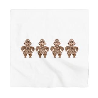 土偶の刺繍横並び Bandana