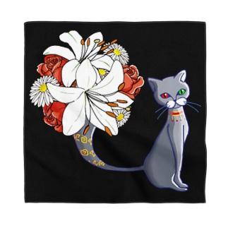 猫の花瓶/バンダナ Bandana