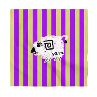 紫黄色ストライプ羊白 Bandana
