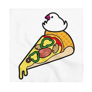ピザで暖をとる文鳥(素材が濃い色用) Bandana