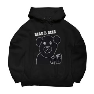クマとビール Big Hoodies