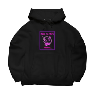 Neko to Wifi - Neon Big Hoodies