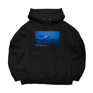 夜のクジラ black Big Hoodies