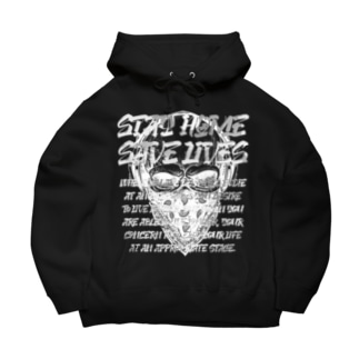 STAY HOME、SAVE LIVES。 髑髏マスク/白 Big Hoodies