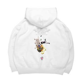 UNIREBORN WORKS ORIGINAL DESGIN SHOPのONLY THOSE WHO HAVE THE COURAGE TO JUMP INTO NEW CHALLENGES WILL ADVANCE. Big Hoodies