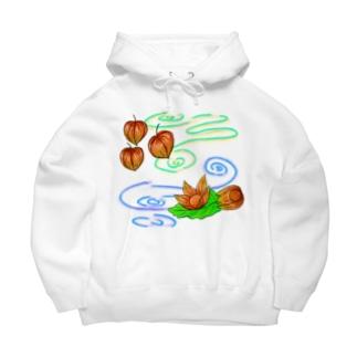 Lily bird(о´∀`о)のホオズキ 水紋背景(和柄) Big Hoodies