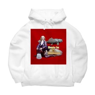 ドール写真:ブロンドの妖狐と甲冑魚 Doll picture: Blonde monsterfox & Dunkleosteus Big Hoodies