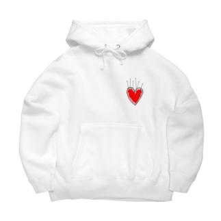 banned heart White Big Hoodies
