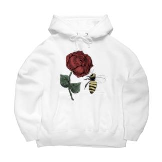 薔薇と蜂 ワンポイント Big Hoodies
