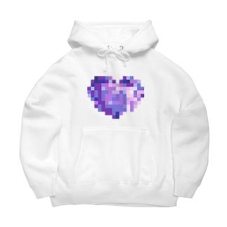 Pixel Heart BLUE BERRY Big Hoodies