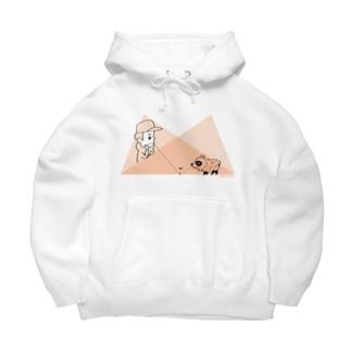タヌキと少年の幾何学 Big Hoodies