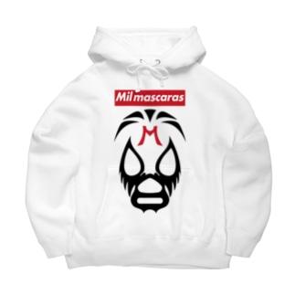 DRIPPEDのMIL MASCARAS-ミル・マスカラス-赤ボックスロゴ Big Hoodies