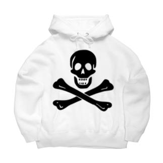 海賊旗スカル-Jolly Roger サミュエル・ベラミーの海賊旗-黒ロゴ Big Hoodies