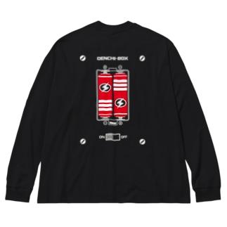 DENCHI BOX(背面) Big silhouette long sleeve T-shirts