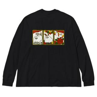 猪どっぐ鹿どっぐ蝶どっぐ Big silhouette long sleeve T-shirts