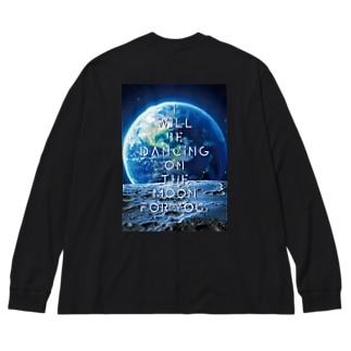 I'll be dancing on the moon for you. BLACK ver Big silhouette long sleeve T-shirts