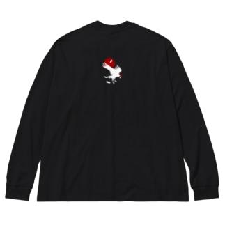 レイヴン・ホワイト/赤月 Big silhouette long sleeve T-shirts