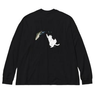 白猫とニジマス Big silhouette long sleeve T-shirts