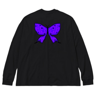 バタフライ(両面) Big silhouette long sleeve T-shirts