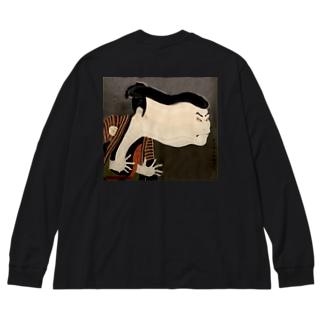 江戸兵衛(back) Big silhouette long sleeve T-shirts