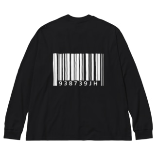 バーコード(白背面Ver.) Big silhouette long sleeve T-shirts