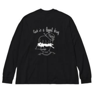合法麻楽(ROCK) Big silhouette long sleeve T-shirts