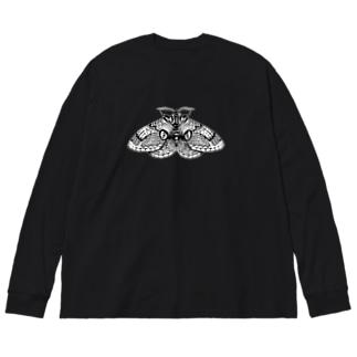 イボタガ Big silhouette long sleeve T-shirts