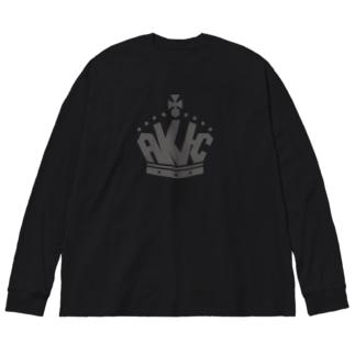 王冠ロゴ・グレー Big silhouette long sleeve T-shirts