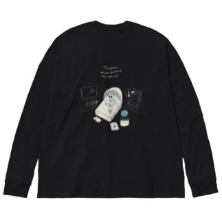 地球に憧れる宇宙人 Big silhouette long sleeve T-shirts