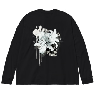 Lily Skull [White] Big silhouette long sleeve T-shirts