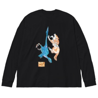 Wolf and Velociraptor Big Silhouette Long Sleeve T-Shirt