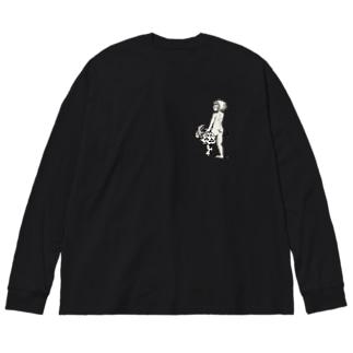 真白な背中 Big silhouette long sleeve T-shirts