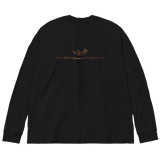 Angel message ~ The world... Big silhouette long sleeve T-shirts