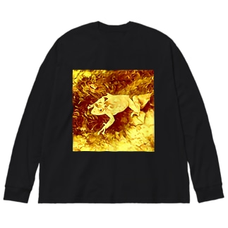 Fantastic Frog -Gold Version- Big silhouette long sleeve T-shirts