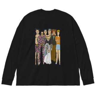 巻き付くイカ子供 Big silhouette long sleeve T-shirts