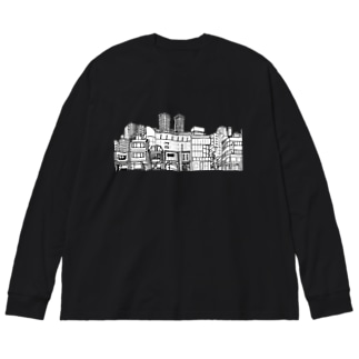 まちなみ Big silhouette long sleeve T-shirts