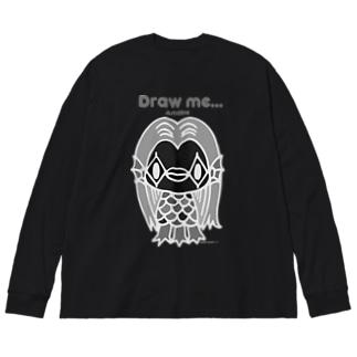 【各5点限定】アマビエさま(nega/mono) Big Long Sleeve T-shirt