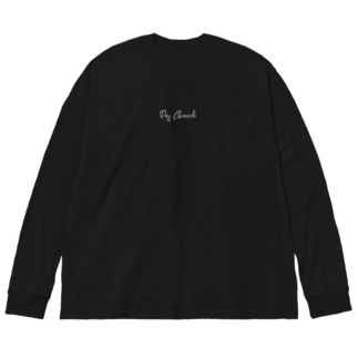 『ベタに白ロゴ ロンT』 Big silhouette long sleeve T-shirts