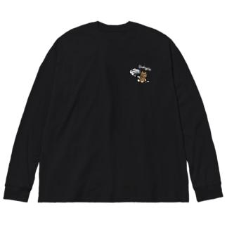 MOKU MOKU/Black Big silhouette long sleeve T-shirts